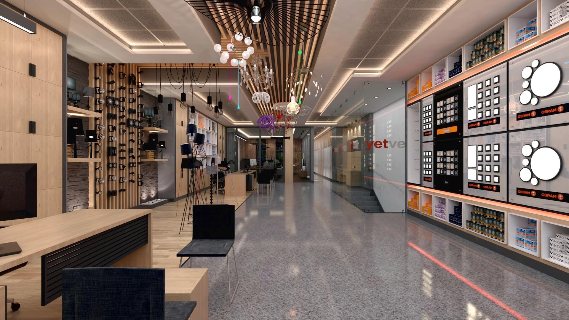 Mağaza Tasarımları ve İçmimari Dekorasyonu Yetven Elektrik / Ostim